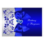 Bleu IMPRIMÉ de RUBAN, invitation floral argenté d