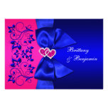 Bleu IMPRIMÉ de RUBAN, invitation floral rose de m