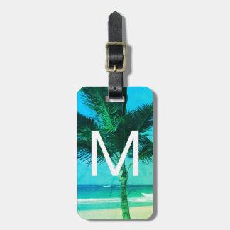 Bleu initial tropical de plage et de palmier/vert étiquette à bagage
