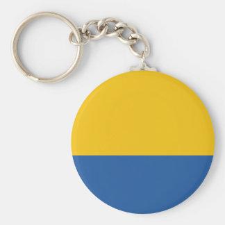 Bleu jaune et royal d'or porte-clé rond