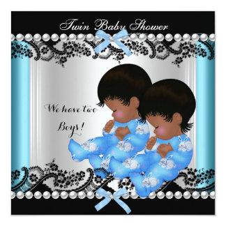 Bleu jumeau 2 de baby shower de garçons carton d'invitation  13,33 cm