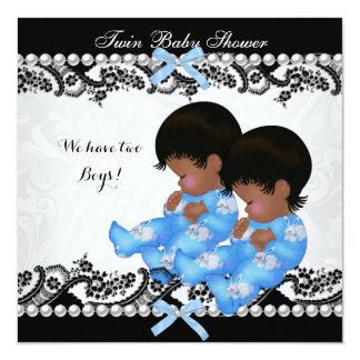 Bleu jumeau de baby shower de garçons carton d'invitation  13,33 cm