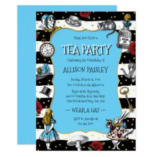 Bleu lunatique de thé du pays des merveilles carton d'invitation  12,7 cm x 17,78 cm