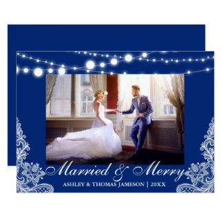 Bleu marié et joyeux élégant de carte photo de