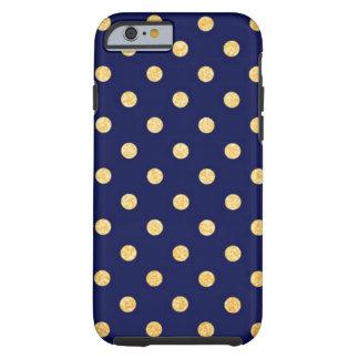 Bleu marine avec des points d'or coque tough iPhone 6