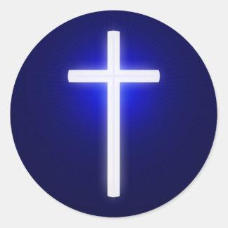 Bleu marine | chrétien croisé rougeoyant blanc sticker rond