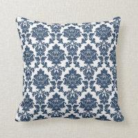 Bleu marine - coussin blanc de damassé