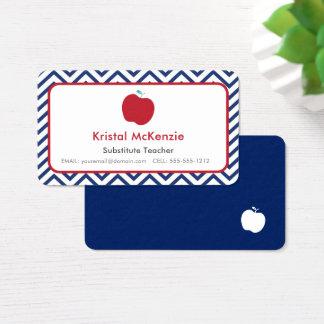 Bleu marine de cartes de visite de professeur