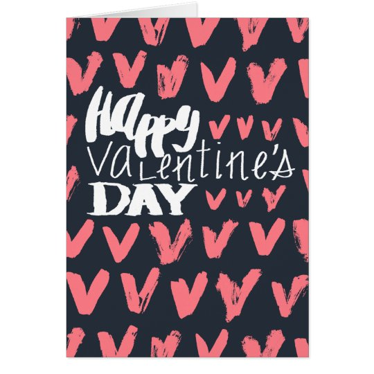 Bleu marine de heureuse Sainte-Valentin et coeurs Carte De Vœux