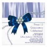 Bleu marine de perles Quinceanera Faire-part Personnalisé