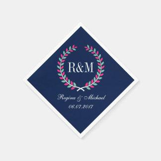 Bleu marine de serviette de mariage de monogramme serviette jetable