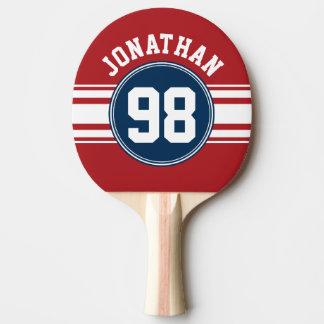 Bleu marine du Jersey de sports et nombre nommé de Raquette De Ping Pong