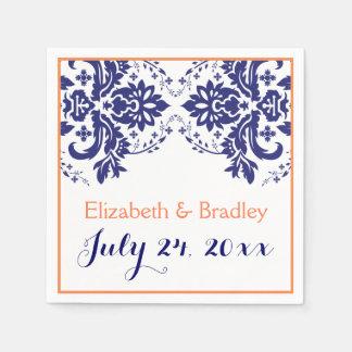 Bleu marine élégant de motif de damassé, mariage serviette en papier