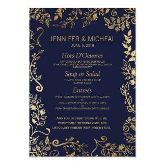 Bleu marine élégant et menu floral de mariage d'or carton d'invitation  12,7 cm x 17,78 cm