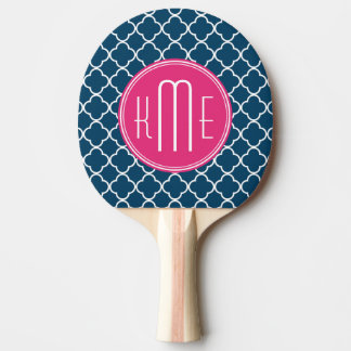 Bleu marine élégant Quatrefoil avec le monogramme Raquette Tennis De Table