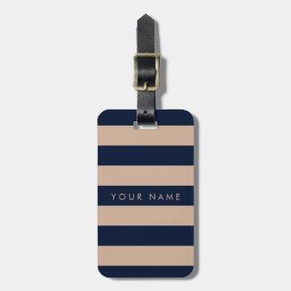 Bleu marine et amande barrée personnalisés étiquette pour bagages