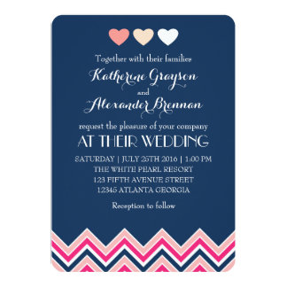 Bleu marine et amour rose de faire-part de mariage