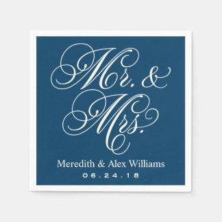 Bleu marine et blanc de M. et de Mme Napkins   Serviettes En Papier