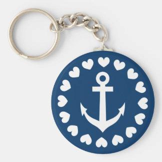Bleu marine et blanc nautique du porte - clé | porte-clé rond