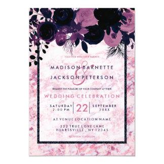 Bleu marine et invitations de marbre roses mauve