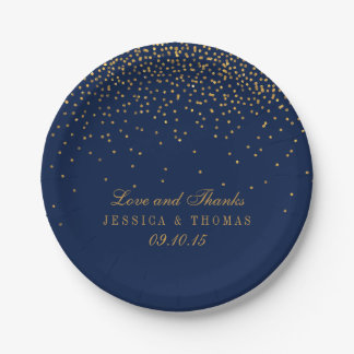 Bleu marine et mariage fascinant de confettis d'or assiettes en papier
