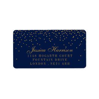 Bleu marine et mariage fascinant de confettis d'or étiquette d'adresse