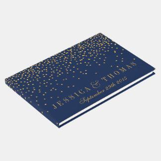 Bleu marine et mariage fascinant de confettis d'or livre d'or