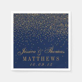 Bleu marine et mariage fascinant de confettis d'or serviette en papier
