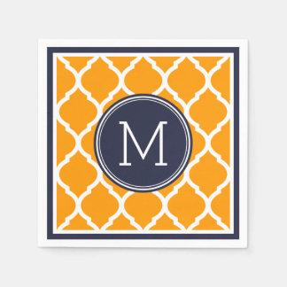 Bleu marine et monogramme de mariage de Quatrefoil Serviettes En Papier