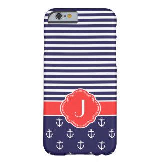 Bleu marine et monogramme fait sur commande nautiq coque iPhone 6 barely there