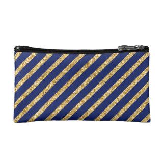 Bleu marine et motif diagonal de rayure de trousses make-up