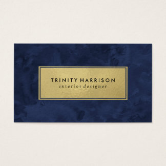 Bleu marine et or moderne chic de l'aquarelle   cartes de visite