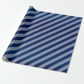 Bleu marine et rayures diagonales papier cadeau noël