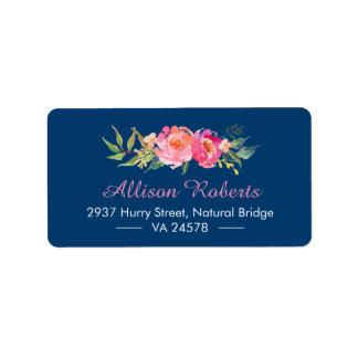 Bleu marine floral botanique rose rouge pourpre étiquettes d'adresse