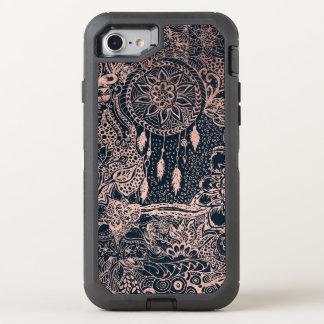 Bleu marine floral de griffonnages de dreamcatcher coque otterbox defender pour iPhone 7