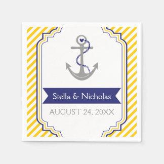 Bleu marine gris nautique d'ancre, mariage jaune serviette en papier