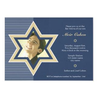 Bleu marine - invitation de Mitzvah de barre