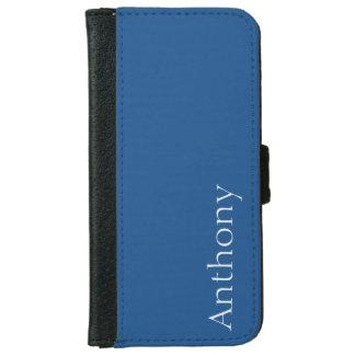 Bleu marine léger personnalisable coque avec portefeuille pour iPhone 6