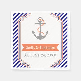 Bleu marine, mariage nautique d'ancre de corail serviettes en papier