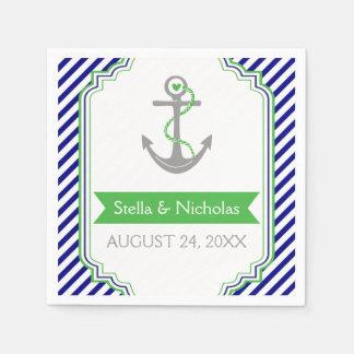 Bleu marine, mariage nautique d'ancre verte de serviette jetable