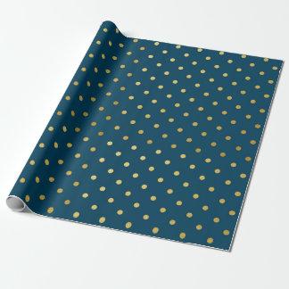 Bleu marine moderne de pois de feuille d'or papier cadeau