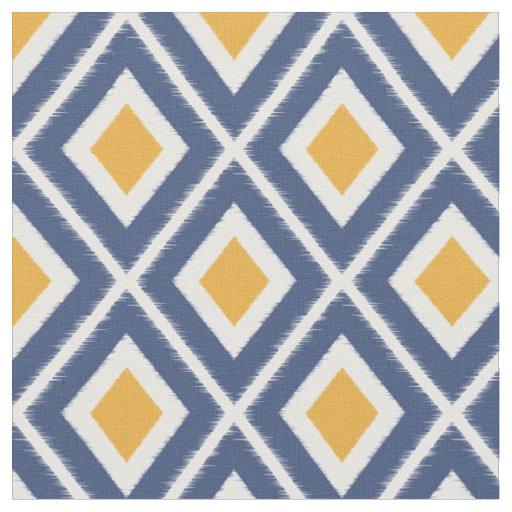 bleu marine moderne et motif jaune d 39 ikat de tissu zazzle. Black Bedroom Furniture Sets. Home Design Ideas