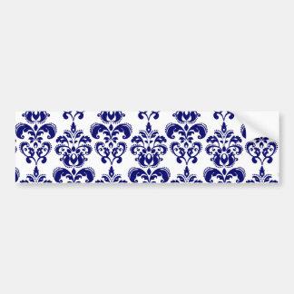 Bleu marine, motif vintage blanc 2 de damassé adhésif pour voiture