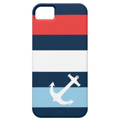 Bleu marine nautique d'ancre flottante de rayures étui iPhone 5
