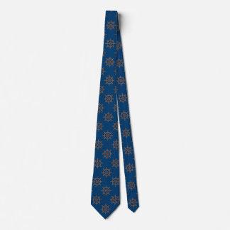 Bleu marine nautique de motif de roue de bateaux cravates