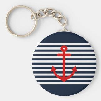 Bleu marine nautique porte-clé rond