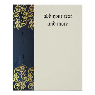 bleu marine, or floral, motif, chic, élégant, prospectus 11,4 cm x 14,2 cm