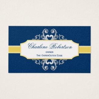 Bleu marine vintage et remous jaunes d'or cartes de visite