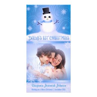Bleu mignon de bonhomme de neige de ęr Noël du béb Photocartes Personnalisées