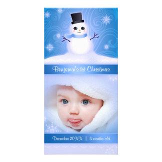 Bleu mignon de bonhomme de neige de ęr Noël du béb Photocarte